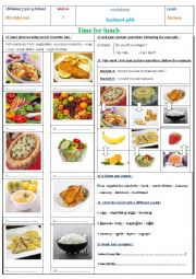 English Worksheet: Time for lunch part 1