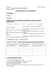English Worksheet: Let Everyday be an Earth Day (Lesson 5, Module 3, 9th gr.)