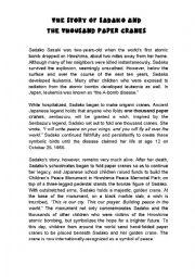 Sadako and the Thousand Paper Cranes Writing Prompt I abcteach.com ...