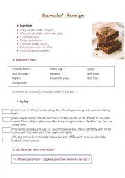 English Worksheet: Brownies� receipe