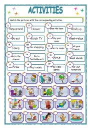 English Worksheet: activities