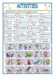 English Worksheet: activities