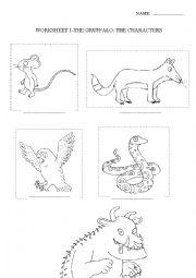 English Worksheet: The Gruffalo- Characters