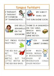 English Worksheet: Tongue Twisters