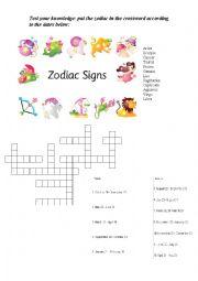 English Worksheet: Zodiacs signs