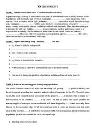 English Worksheet: water scarcity