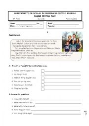 English Worksheet: 5th grade test on the topic FAMILY