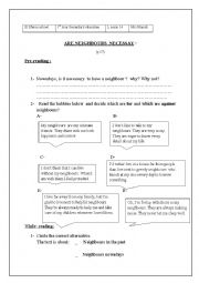 English Worksheet: Are neighbours necessary