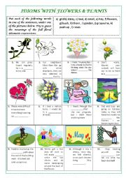 English Worksheet: IDIOMS with FLOWERS & PLANTS (plus key and explanations)
