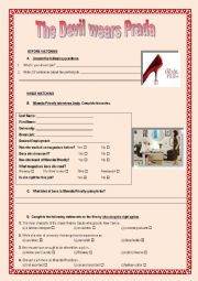 english worksheets film the devil wears prada. Black Bedroom Furniture Sets. Home Design Ideas