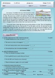 English Worksheet: Pollution Reading Test + Comprehension + Language + Writing
