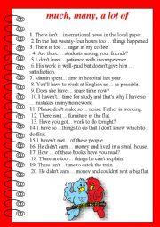 English Worksheet: Much, many, a lot of