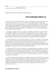 how technology affects us essays Most people say that technology has positive effects on everyone because it helps everyone with homework and other resources like for example using google.