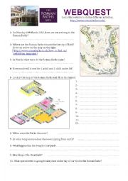 English Worksheet: Roman Baths - Webquest