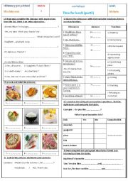 English Worksheet: Time for lunch part 2