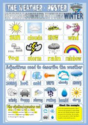 English Worksheet: The weather - poster