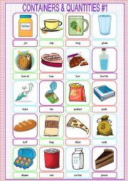 English Worksheet: Containers and Quantities Picture Dictionary#1