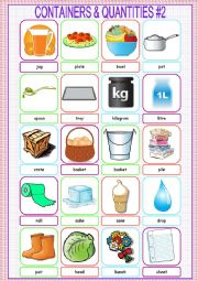 English Worksheet: Containers and Quantities Picture Dictionary#2