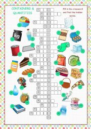 Containers and Quantities Crossword Puzzle