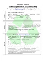 English Worksheet: Pollution prevention and or recycling