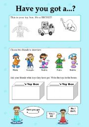 English Worksheet: Have you got a...?