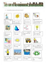 English Worksheet: SHOULD-SHOULDN´T sentences to be ecofriendly