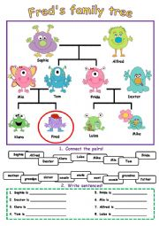 English Worksheet: Fred�s monster family tree