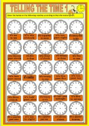 English worksheet: Telling the time - exercises 1