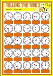 English worksheet: Telling the time - exercises 2