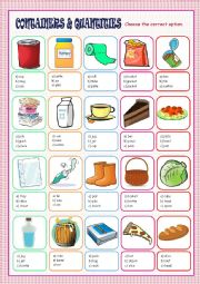 English Worksheet: Containers and Quantities Multiple Choice