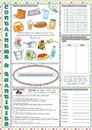 English Worksheet: Containers and Quantities Vocabulary Exercises