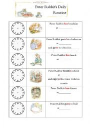 Peter Rabbit´s daily routine