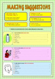 English Worksheet: MAKING SUGGESTIONS (2 PAGES+ 8 EXERCISES + 48 SENTENCES)