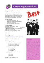 English Worksheet: The Clash Career Opportunities