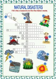 English Worksheet: Natural Disasters Crossword Puzzle
