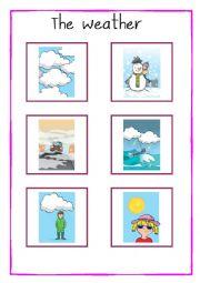 English Worksheet: The Weather [Flashcards]
