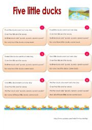 English Worksheet: Nursery rhymes- Five little ducks