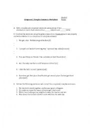 English Worksheet: complex and compound sentences