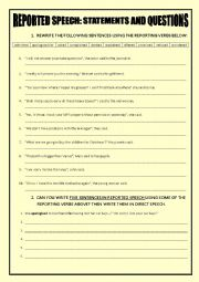 English Worksheet: REPORTED STATEMENTS AND QUESTIONS with other reporting verbs