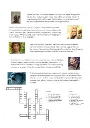 English Worksheet: lord of the rings crosswords