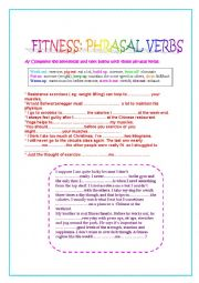 English Worksheet: Phrasal Verbs: Fitness.