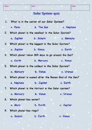 Solar System quiz