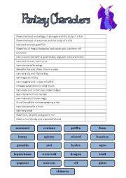 English Worksheet: Fantasy Characters