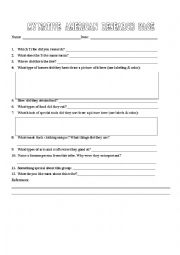English Worksheet: Native American Tribe Webquest Summarizing Worksheet