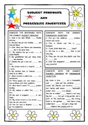 English Worksheet: Subject Pronouns and Possessive Adjs.
