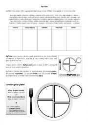 English Worksheet: Food groups and MyPlate