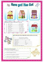 English Worksheet: Have got/Has got
