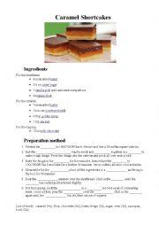 English Worksheet: Caramel shortcakes