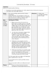 English Worksheet: Stereotypes lesson plan