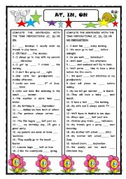 English Worksheet: AT,  IN, ON